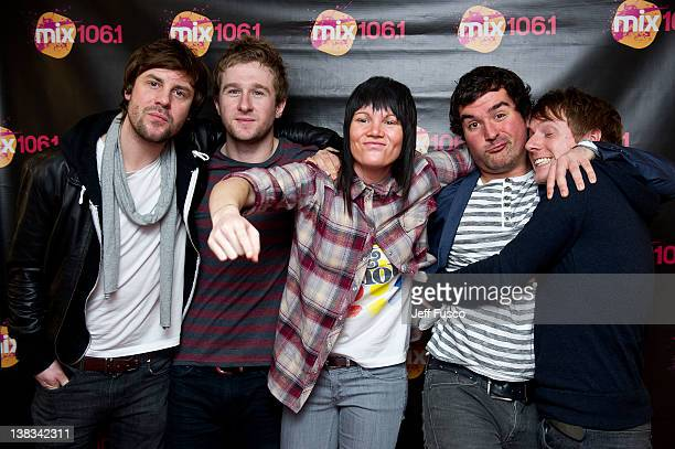 Stuart Nichols Danny Bemrose Aimee Driver David Nowakowski and Chris Durling of Scars On 45 pose at the Mix 1061 iHeart Performance Theater on...