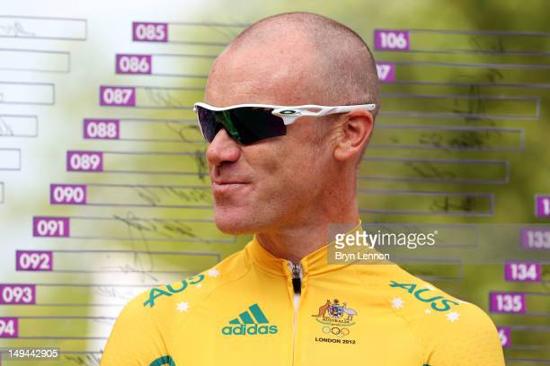 Stuart O'Grady of Australia looks on ahead of the Men's Road Race Road Cycling on day 1 of the London 2012 Olympic Games on July 28, 2012 in London,...