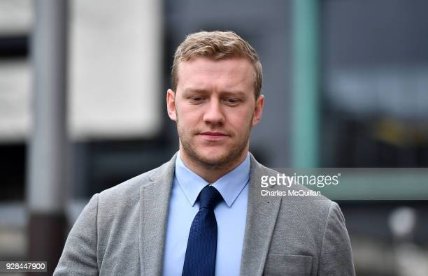 Stuart Olding arrives at Belfast Laganside courts on March 7 2018 in Belfast Northern Ireland The Ireland and Ulster rugby player is accused of...