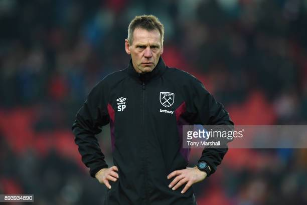 Stuart Pearce Assistant Manager of West Ham United during the Premier League match between Stoke City and West Ham United at Bet365 Stadium on...