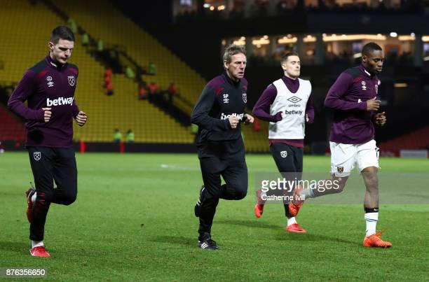 Stuart Pearce assistant manager of West Ham United warms down with the players after the Premier League match between Watford and West Ham United at...