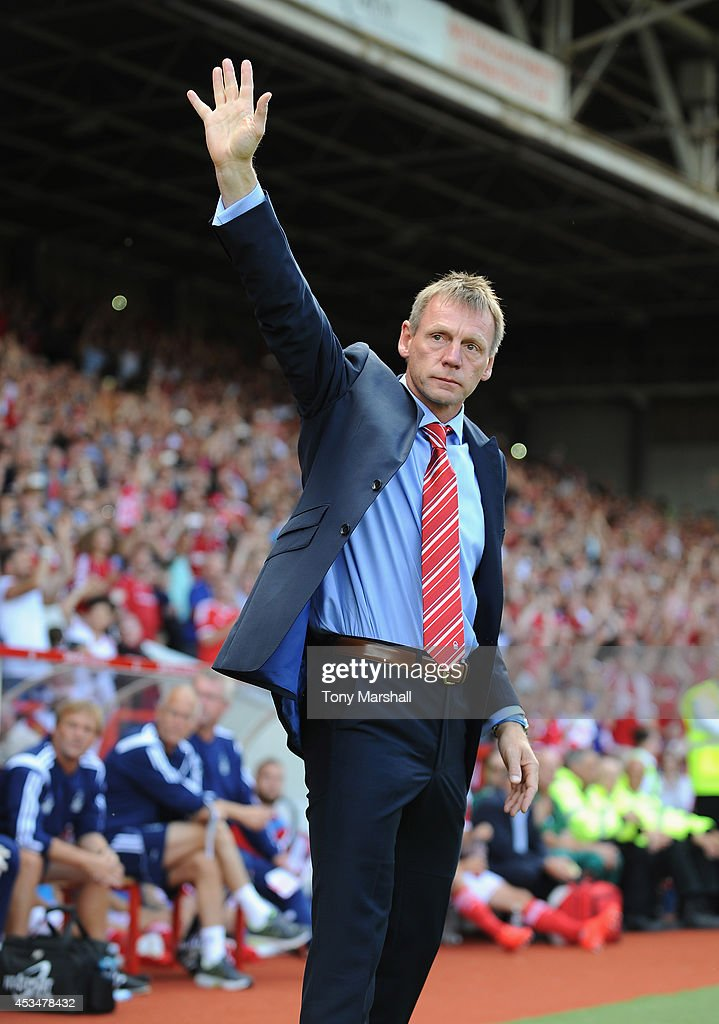 Stuart Pearce, Manager of Nottingham Forest salutes the fansl during the Sky Bet Championship match between Nottingham Forest and Blackpool at City Ground on August 9, 2014 in Nottingham, England.