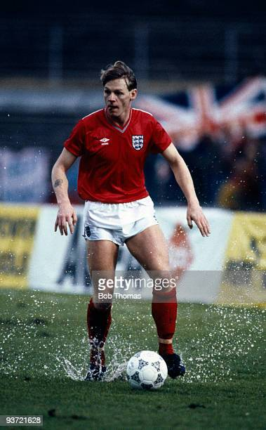 Stuart Pearce of England in action on a wet pitch during the International Friendly match between Israel and England held at the Ramat Gan Stadium in...