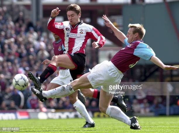 Stuart Pearce of West Ham United challenges Marian Pahars of Southampton during the FA Carling Premiership match at Upton Park in London on May 5...