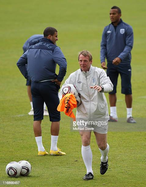 Stuart Pearce the England coach conducts a England under 21's training session at Monjasa Park stadium on June 18 2011 in Fredericia Denmark