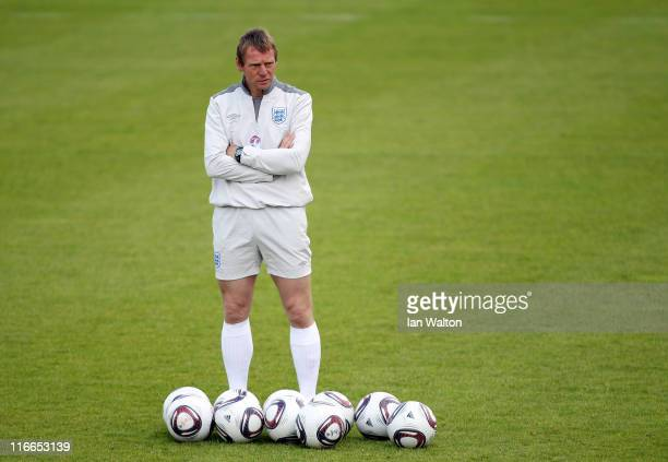 Stuart Pearce the England coach during the England under 21's training session at Monjasa Park stadium on June 17 2011 in Fredericia Denmark