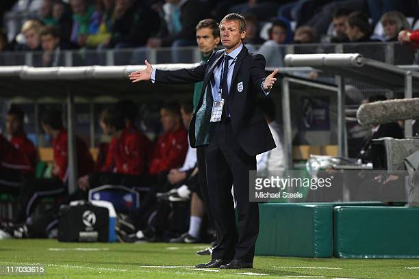 Stuart Pearce the England coach during the UEFA European Under21 Championship Group B match between England and Czech Republic at the Viborg Stadium...