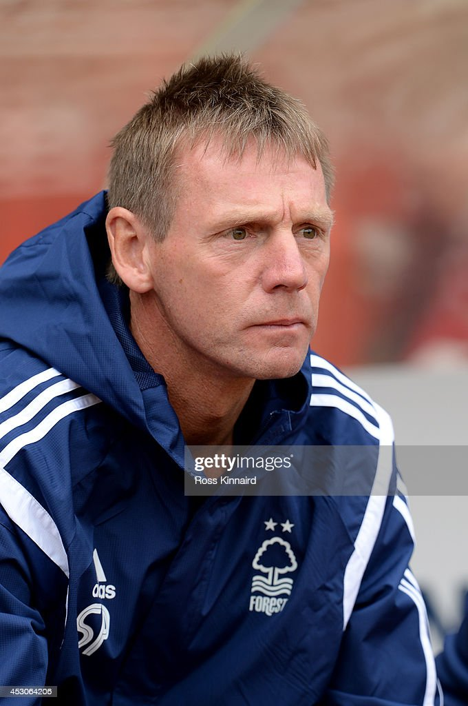 Stuart Pearce the manager of Nottingham Forest during the pre season friendly match between Nottingham Forest and West Bromwich Albion at the City Ground on August 2, 2014 in Nottingham, England.