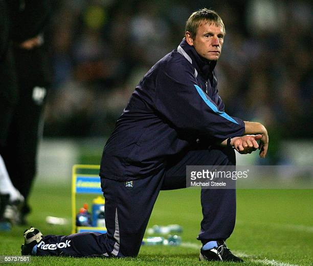 Stuart Pearce the Manchester City manager looks on as his team lose 0-3 on penalties during the Carling Cup Round Two match between Doncaster Rovers...