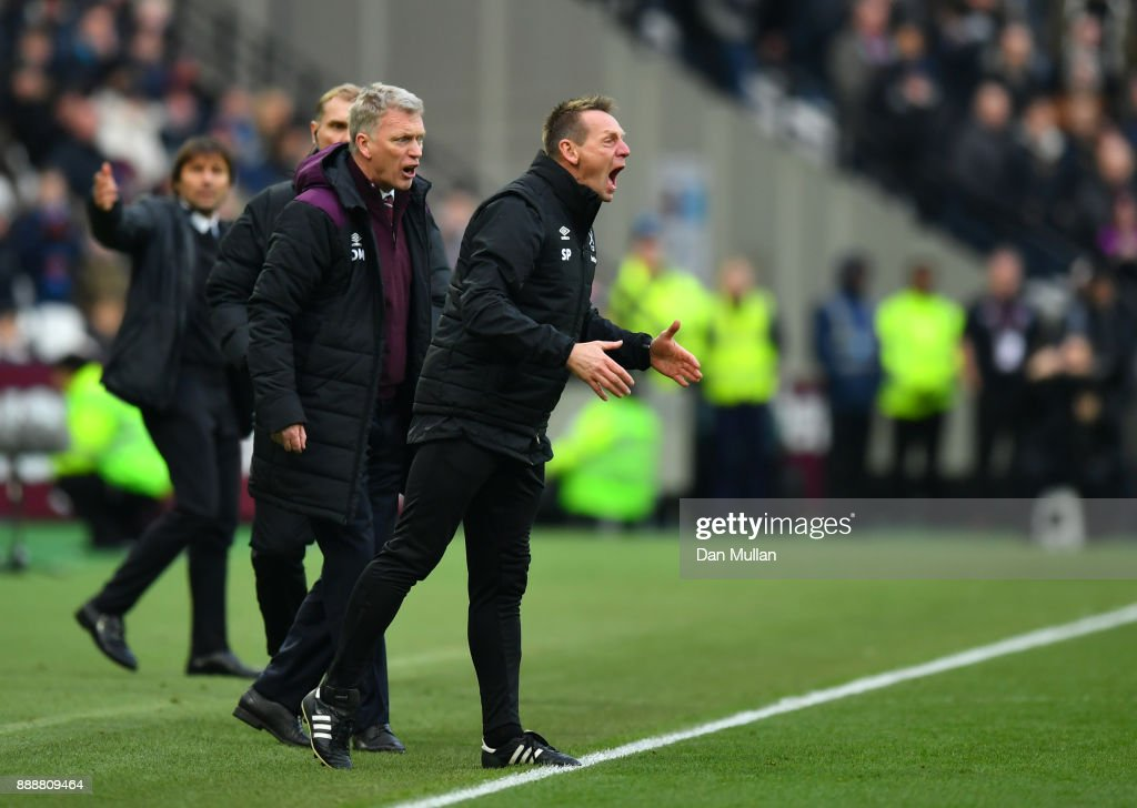 Stuart Pearce, West Ham United assistant manger reacts during the Premier League match between West Ham United and Chelsea at London Stadium on December 9, 2017 in London, England.