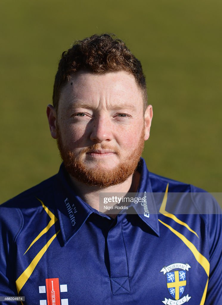 Stuart Poynter of Durham poses for a portrait during the Durham CCC Photocall at The Riverside on March 31, 2015 in Chester-le-Street, England.