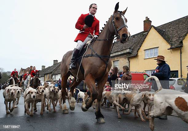 Stuart Radbourne huntsman and jointmaster with the Avon Vale Hunt leads the riders and hounds for their traditional Boxing Day hunt on December 26...