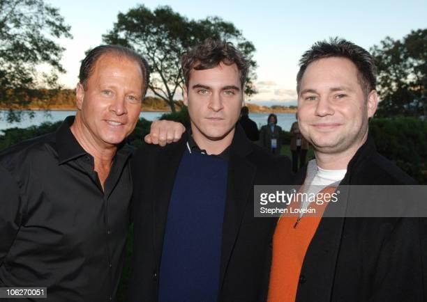 Stuart Rahr Joaquin Phoenix and Jason Binn during 13th Annual Hamptons International Film Festival Reception for Walk the Line at Private Residence...