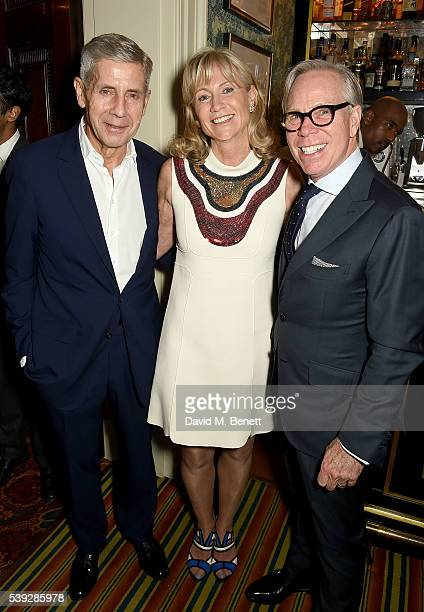 Stuart Rose Lady Alison Myners and Tommy Hilfiger attend the Fung LCM Dinner at Mark's Club on June 10 2016 in London England