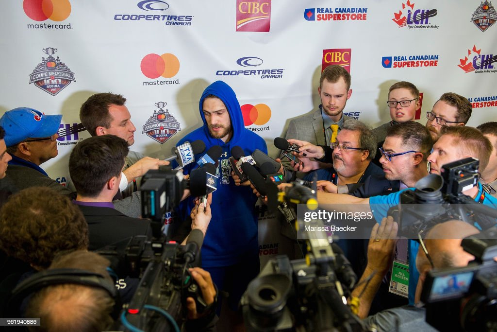 Stuart Skinner #74 of Swift Current Broncos answers media questions after the game four loss to the Hamilton Bulldogs at Brandt Centre - Evraz Place on May 21, 2018 in Regina, Canada.