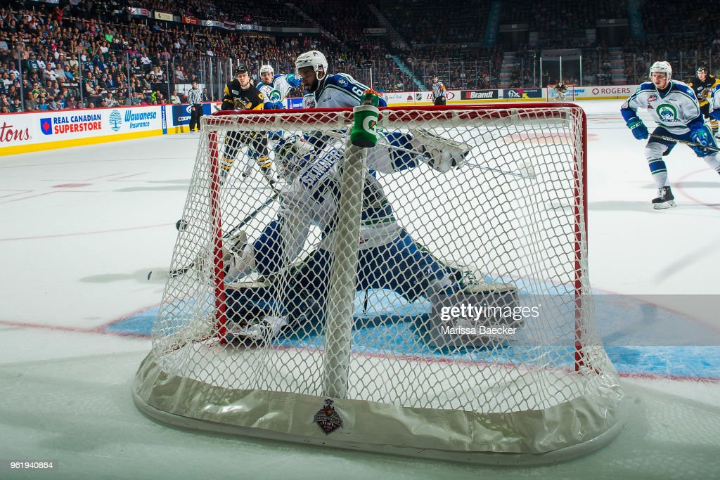 Stuart Skinner #74 of Swift Current Broncos makes a glove save against the Hamilton Bulldogs at Brandt Centre - Evraz Place on May 21, 2018 in Regina, Canada.