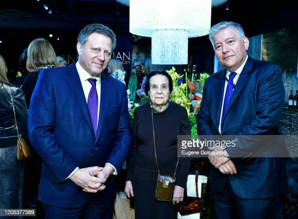 Stuart Sundlan Gloria Starr Kins and Luis Galvis attend the Andrea Bocelli Foundation Lillian Gorbachincky Present First Annual Luncheon at AD...