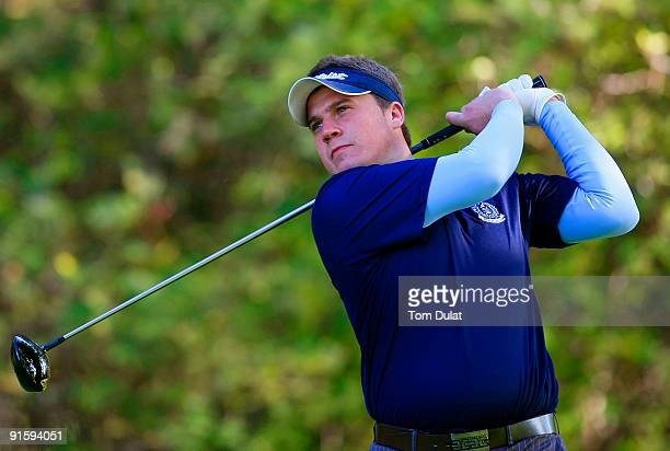 Stuart Taylor of Island tees off from the 14th hole during the SkyCaddie PGA Fourball Championship at Forest Pines Golf Club on October 08 2009 in...