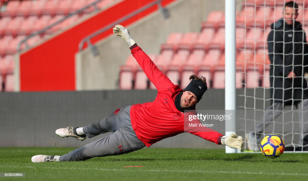 Stuart Taylor of Southampton FC during a training session at St. Mary's Stadium on February 22, 2018 in Southampton, England.