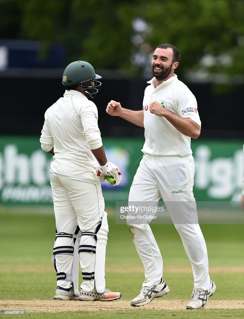 Stuart Thompson of Ireland celebrates after taking the wicket of Sarfraz Ahmed of Pakistan on the fifth day of the international test cricket match between Ireland and Pakistan on May 15, 2018 in Malahide, Ireland.