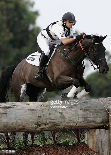 Stuart Tinney riding Tallyho Sambucca jumps during the cross country on day two of the Melbourne International Three Day Event held at the National...
