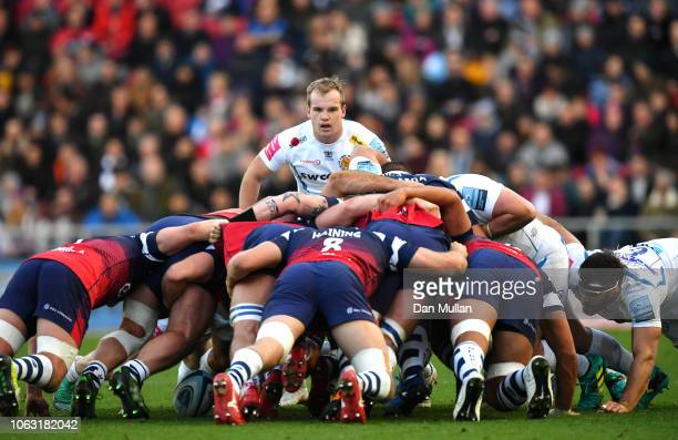 Stuart Townsend of Exeter Chiefs looks on during a scrum during the Gallagher Premiership Rugby match between Bristol Bears and Exeter Chiefs at...