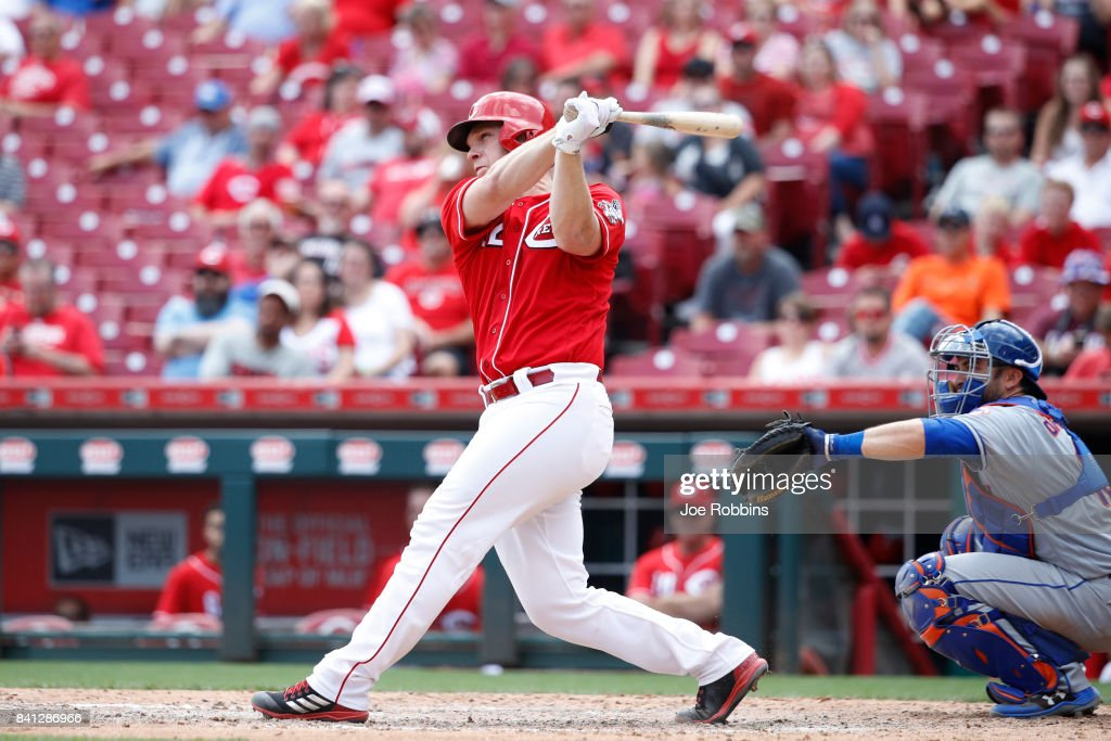 Stuart Turner #32 of the Cincinnati Reds hits a two-run home run in the eighth inning against the New York Mets at Great American Ball Park on August 31, 2017 in Cincinnati, Ohio. The Reds defeated the Mets 7-2.