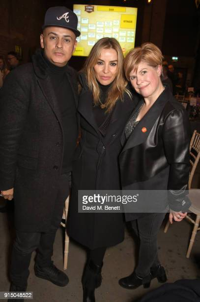 Stuart Watts Elen Rivas and Emma B attend Centrepoint's 10th annual Ultimate Pub Quiz at The Village Underground on February 6 2018 in London England