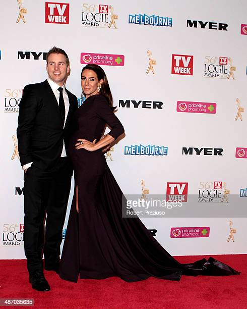 Stuart Webb and Kate Ritchie arrive at the 2014 Logie Awards at Crown Palladium on April 27, 2014 in Melbourne, Australia.
