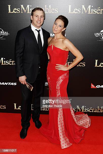 Stuart Webb and Kate Ritchie walk the red carpet during the Australian premiere of 'Les Miserables' at the State Theatre on December 21 2012 in...