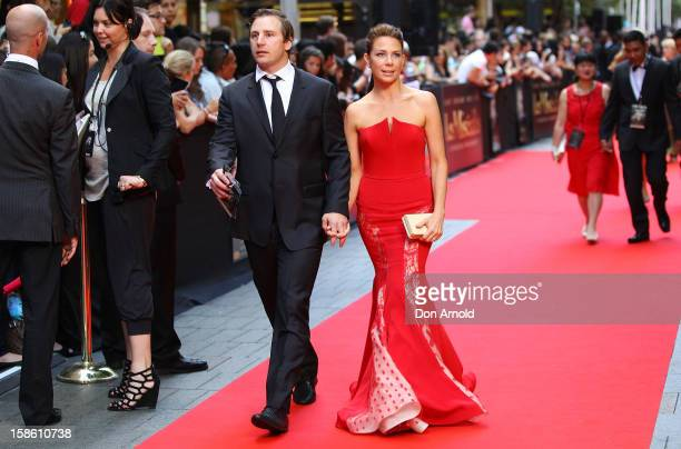 Stuart Webb and Kate Ritchie wlak the red carpet during the Australian premiere of 'Les Miserables' at the State Theatre on December 21, 2012 in...