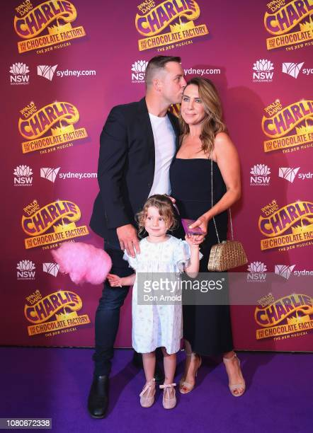 Stuart Webb Kate Ritchie and daughter Mae Webb arrive at opening night of Charlie And The Chocolate Factory at Capitol Theatre on January 11 2019 in...