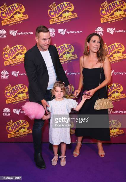 "Stuart Webb, Kate Ritchie and daughter Mae Webb arrive at opening night of ""Charlie And The Chocolate Factory"" at Capitol Theatre on January 11, 2019..."