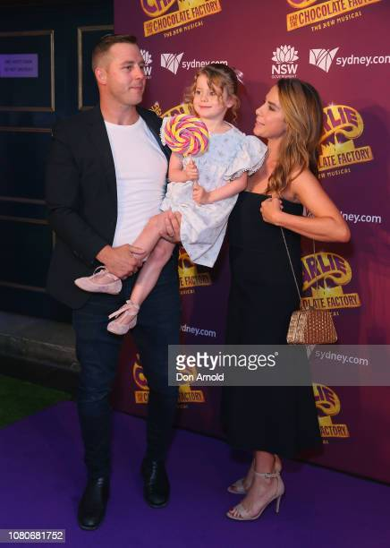 """Stuart Webb, Kate Ritchie and daughter Mae Webb arrive at opening night of """"Charlie And The Chocolate Factory"""" at Capitol Theatre on January 11, 2019..."""