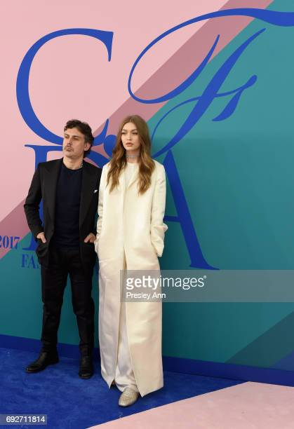 Stuart Weitzman Creative Director Giovanni Morelli and Gigi Hadid attend the 2017 CFDA Fashion Awards at Hammerstein Ballroom on June 5, 2017 in New...