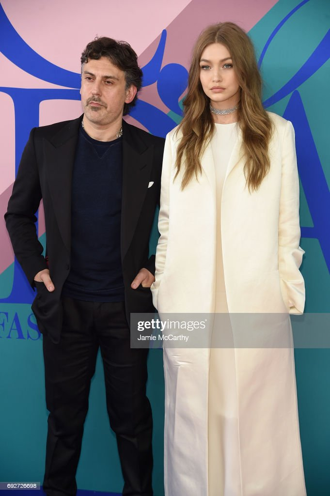 Stuart Weitzman Creative Director Giovanni Morelli and Gigi Hadid attend the 2017 CFDA Fashion Awards at Hammerstein Ballroom on June 5, 2017 in New York City.