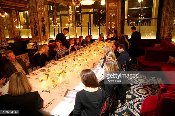 Stuart Weizmann and some Guests attend the Stuart Weitzman Cocktail Dinner at Le Grand Defour on April 06 2016 in Paris France
