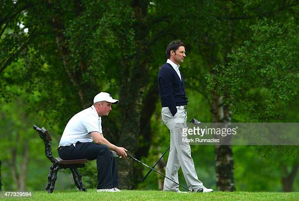 Stuart Wilson and Ryan Donldson of Portlethen Golf Club on the 14th tee during the Lombard Trophy - Scottish Qualifier at Crieff Golf Club on June...