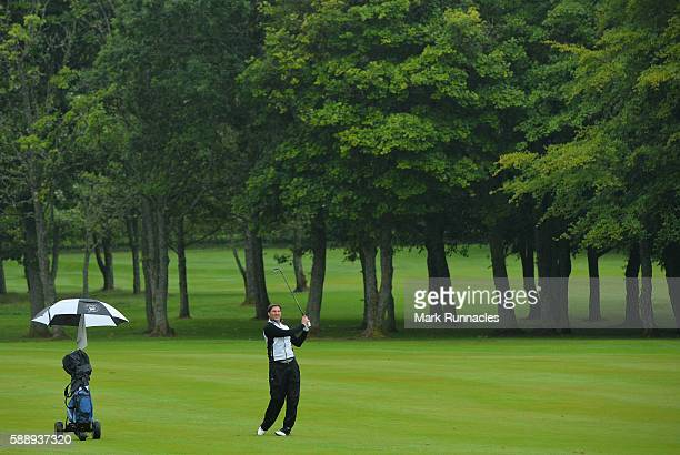 Stuart Wilson of Portlethen Golf Club second shot to the 17th during the PGA ProCaptain Scotland Qualifier at Haggs Castle Golf Club on August 12...