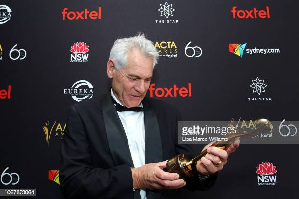 Stuart Wood poses in the media room with the AACTA Award for Best Children's Program for Bureau of Magical Things during the 2018 AACTA Awards...