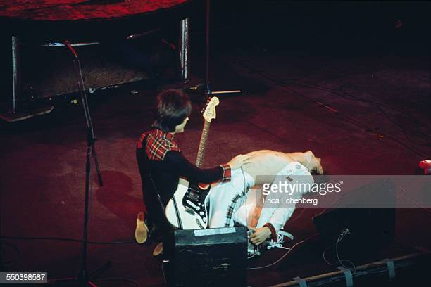 Stuart Woody Wood and Les McKeown of Bay City Rollers perform on stage New Victoria Theatre London United Kingdom 1977