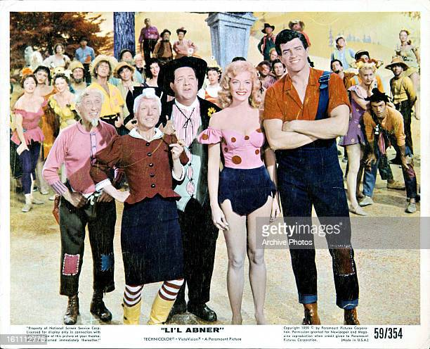Stubby Kaye, Leslie Parrish and Peter Palmer in a scene from the film 'Li'l Abner', 1959.