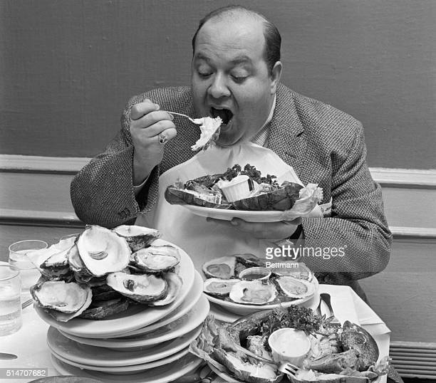 Stubby Kaye of the Broadway musical Li'l Abner eats huge portions of food