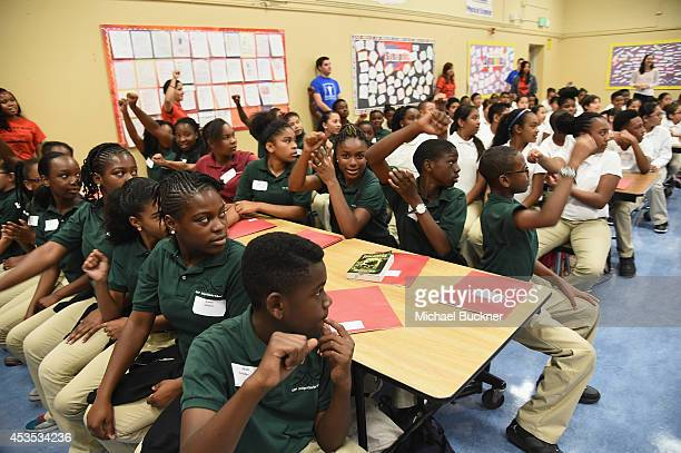 StubHub and Mr Holland's Opus surprise Bay Area students with new instruments at KIPP Bridge Charter School on August 12 2014 in San Francisco...