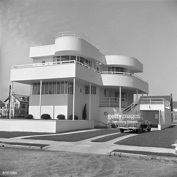 Stucco Art Deco beach house convertible car in driveway Margate City New Jersey