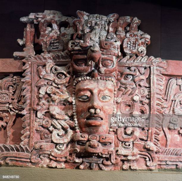 Stucco Mayan freize from the region of Campeche preserved at the National Museum of Anthropology in Mexico Specific to the southern Yucatan Peninsula...