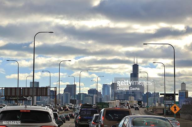 Stuck in rush hour traffic, Chicago, Illinois, USA