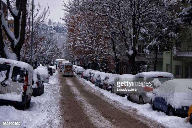 stuck in snow - cankaya district ankara stock pictures, royalty-free photos & images
