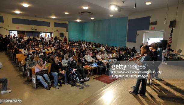 BEACH CALIF USA Studens perform for Jalen Thayer at Patrick Henry School in Long Beach Calif on March 19 2011 Friends and family of Jalen Tahyer...