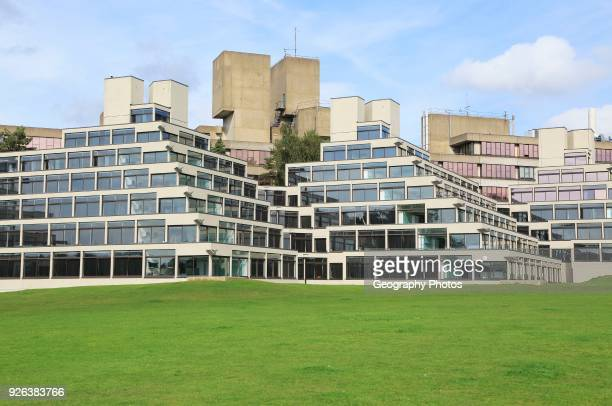 Student accommodation buildings known as Ziggurats campus of University of East Anglia Norwich Norfolk England UK